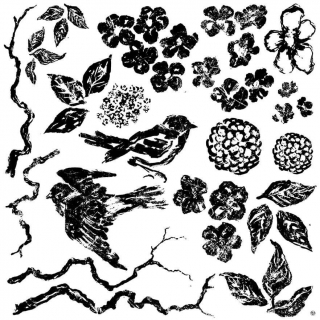 Pečiatka IOD Décor Stamp Birds Branches Blossoms